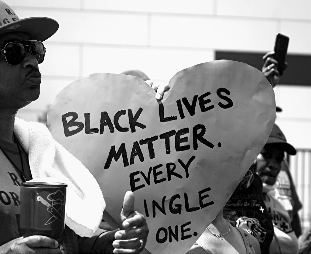 Heart shaped poster reading, Black lives matter. Every single one.