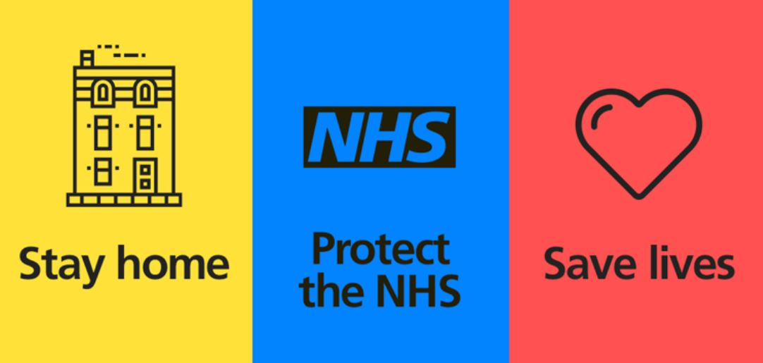 a stay home, protect the NHS, save lives poster