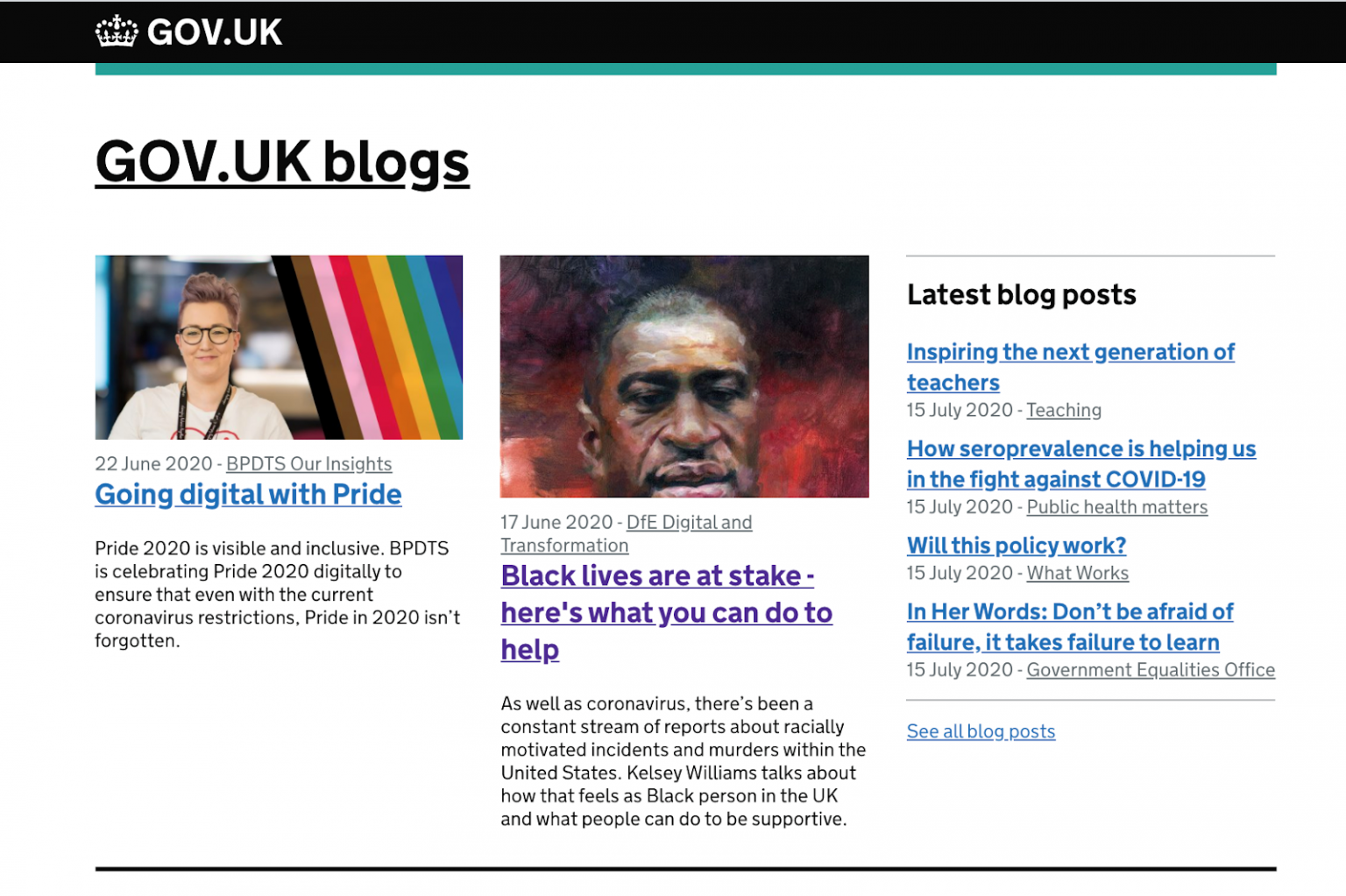 A screen shot of Kelsey Williams blog post for DfE Digital on the GOV.UK blog page