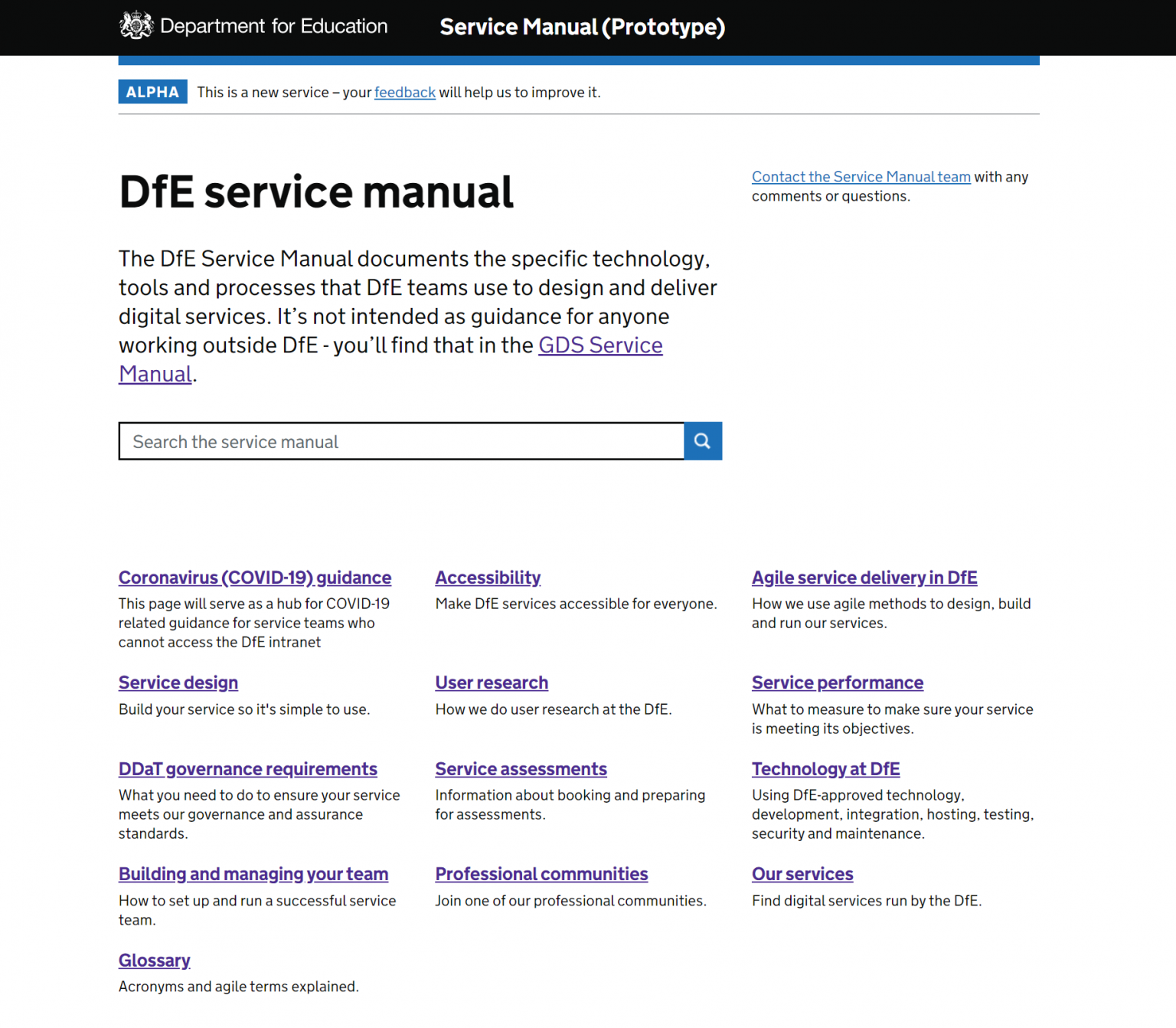 Screenshot of the service manual prototype on the Department for Education webpage