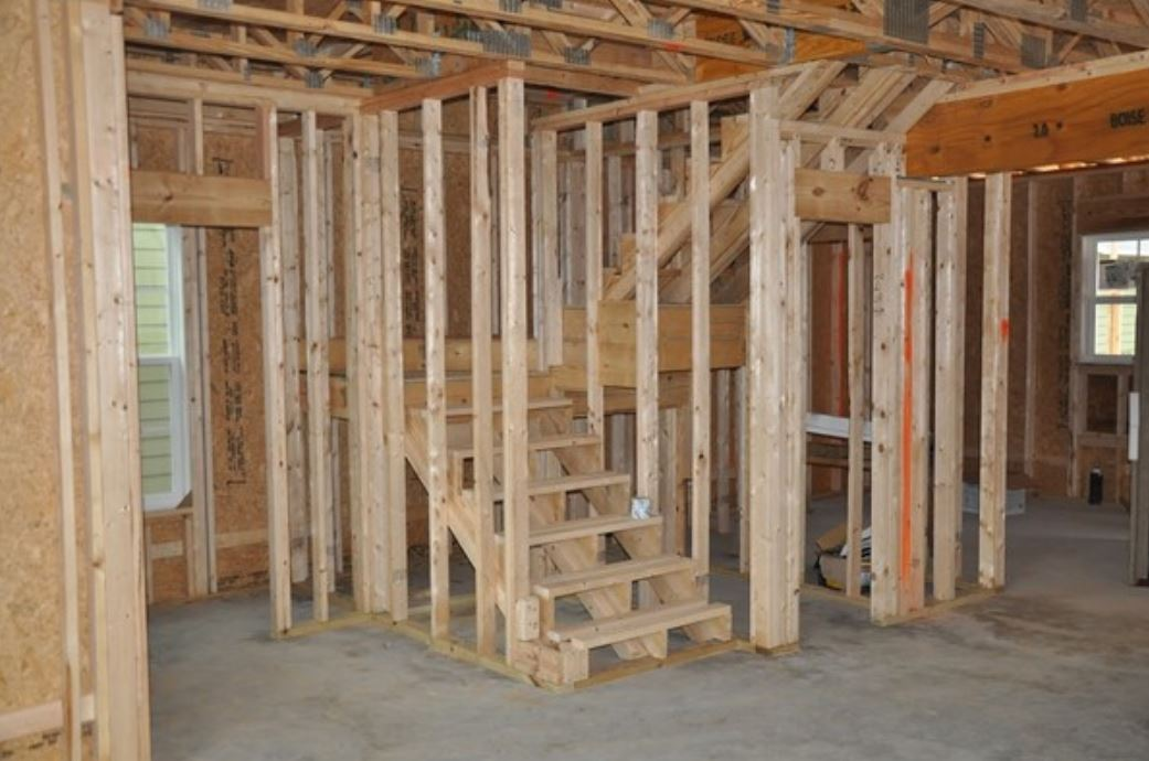 Wooden structure of a house being built