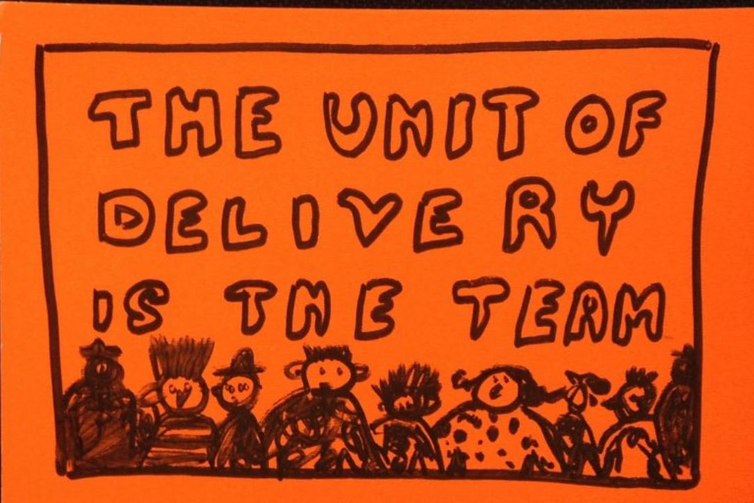A black drawing on an orange background. Text reads 'The unit of delivery is the team' with some illustrations of different people underneath.